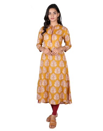 Suti Womens Cotton A Line Fit Kurti, Mustered