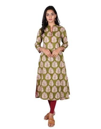 Suti Womens Cotton A Line Fit Kurti, Olive Green