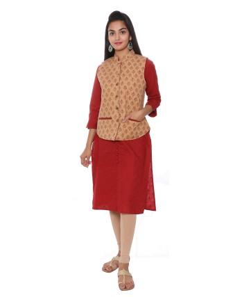 Suti Womens Cotton Regular Fit Jacket, Beige