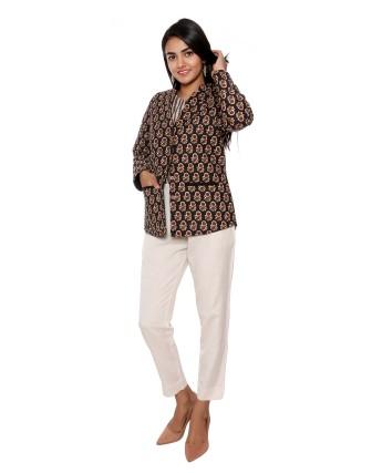 Suti Womens Cotton Regular Fit Jacket, Black