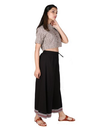 Suti Womens Cotton Palazzos, Black