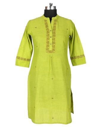 Suti Womens Cotton Straight Fit Kurti, Green