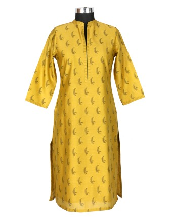Suti Womens Chanderi Regular Fit Kurti, Haldi