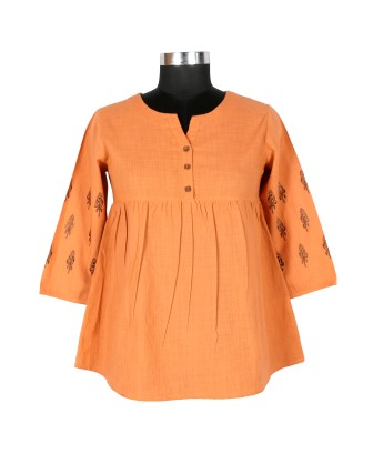Suti Womens Cotton Slub Regular Fit Top, Dusty Orange