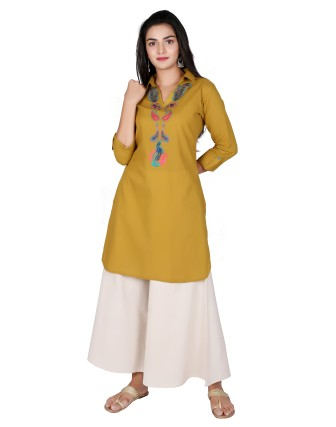 Suti Womens Cotton Slub Straight Fit Tunic, Olive Green