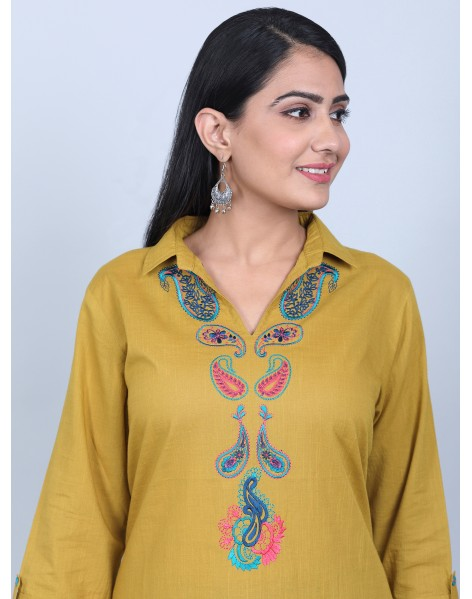 Suti Women's Pasiley Embroidered Tunic With Dhoti, OLIVE GREEN