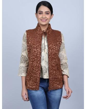 Suti Womens Georgett Regular Fit Jacket, Brown