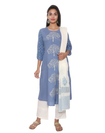 SUTI WOMENS RAYON SLUB EMBROIDRED A  LINE KURTI, WASHED DENIM