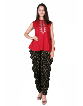 PRINTED DHOTI PATIYALA, BLACK