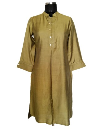 Suti Womens Silk Straight Fit Kurti, Green Moss