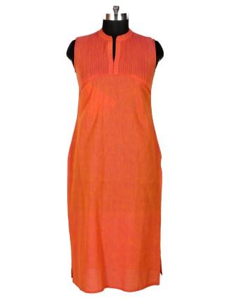 Suti Womens Mangalgiri Straight Fit Kurti, Dark Orange