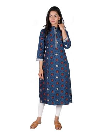 Suti Womens Cotton Chinese Collar Printed Straight Kurti, Indigo