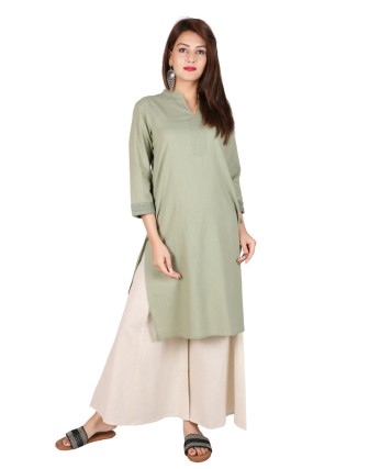 Suti Womens Cotton Straight Fit Kurti, Basil Green