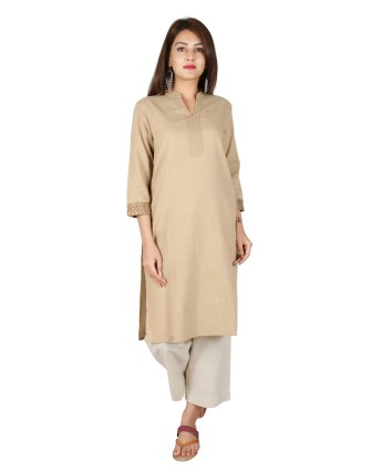 Suti Womens Cotton Straight Fit Kurti, Beige