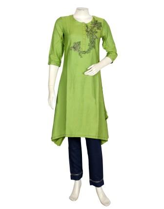Suti Womens Tc Slub A Line Fit Combo, Green