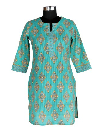 Suti Womens Cotton Straight Fit Kurti, Sea Green