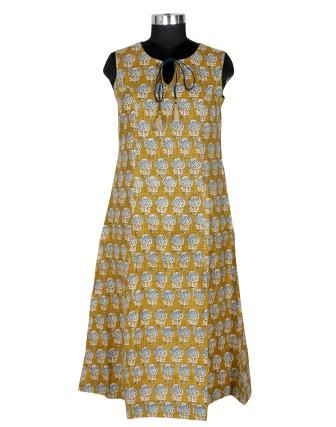 Suti Womens Cotton Slub A Line Fit Kurti, Blue Sunflower