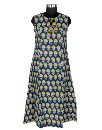 Suti Womens Cotton Slub A Line Fit Kurti, Olive Blue