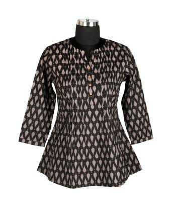 Suti Womens Cotton A Line Fit Top, Black