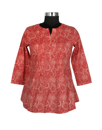 Suti Womens Cotton A Line Fit Top, Red Ochre