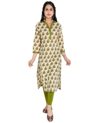 Suti Womens Cotton Kurti, Lemon Drop