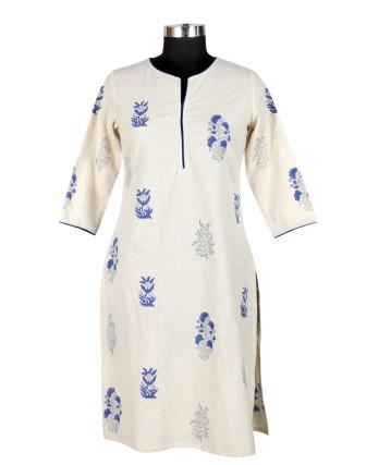 Suti Womens Cotton Straight Fit Kurti, Natural/Blue