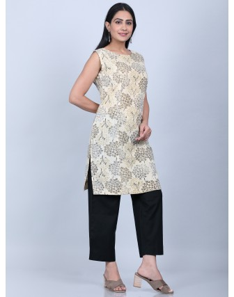 Suti Women's Printed Pannel Sleeveless Tunic With Culottes, BEIGE