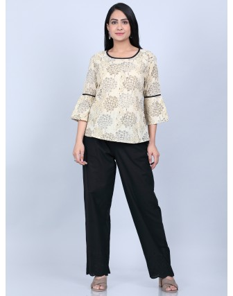 Suti Women's Printed Pannel Top With Trouser, BEIGE