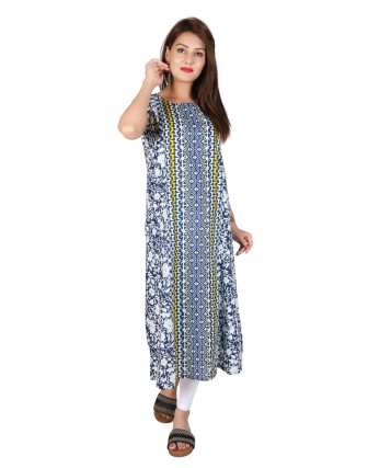 Suti Womens Cotton A Line Fit Kurti, Navy Blue