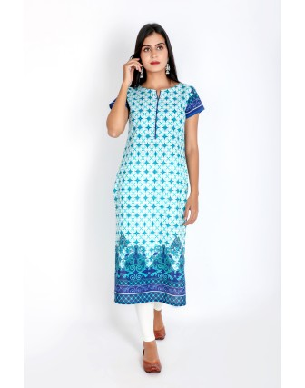 Suti Womens Cotton Straight Fit Kurti, Blue