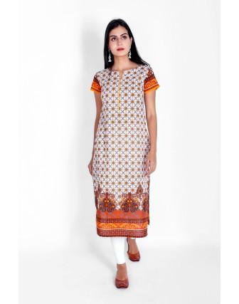 Suti Womens Cotton Straight Fit Kurti, Mustard