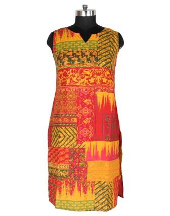 Suti Womens Cotton Straight Fit Kurti, Orange