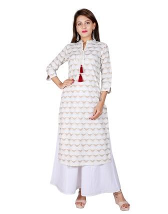 Suti Womens Cotton Slub Straight Fit Combo, White