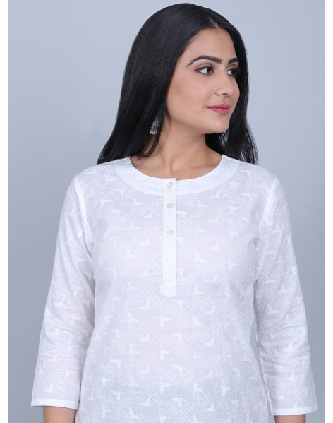 Suti Women's Schiffly Top With Front Placket With Dhoti Patiyala, WHITE