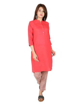 Suti Womens Cotton Slub Straight Fit Kurti, Coral