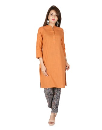 Suti Womens Cotton Slub Straight Fit Kurti, Rust Orange
