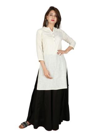 Suti Womens Cotton Slub Straight Fit Kurti, White