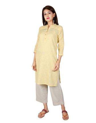 Suti Womens Cotton Slub Straight Fit Kurti, Yellow