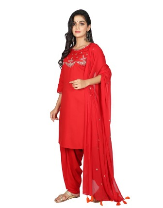 Suti Womens Rayon Staple Straight Fit Combo, Red