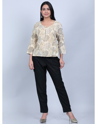 Suti Women's Printed Pannel Top With Slim Pant, BEIGE