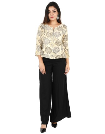 Suti Womens Cotton Slub Printed Top, Beige