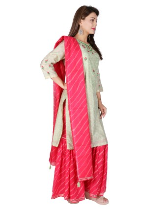 Suti Womens Chanderi Straight Fit Combo, Seafaon Green