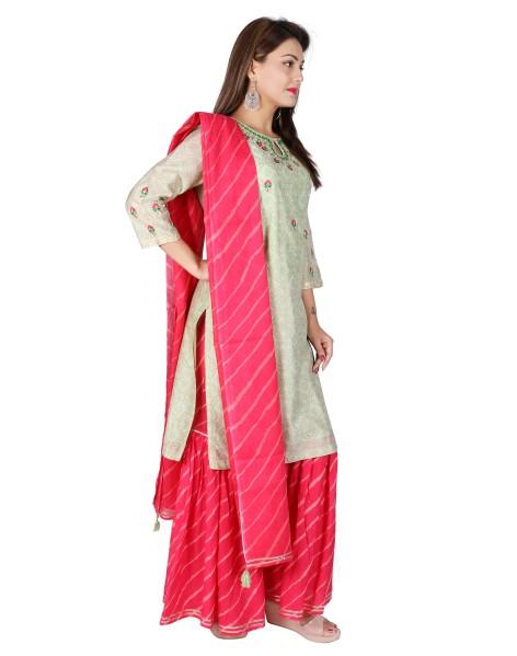 Suti Womens Chanderi Straight Fit Combo, Seafaon Green