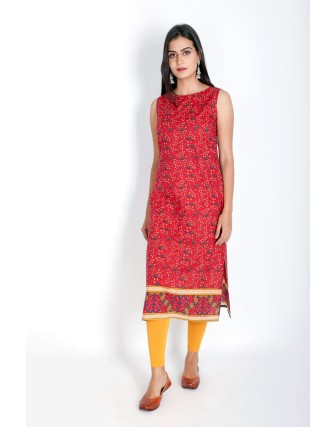 Suti Womens Cotton Straight Fit Kurti, Red