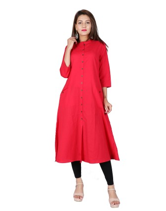 Suti Womens Cotton Flex A Line Fit Kurti, French Rose