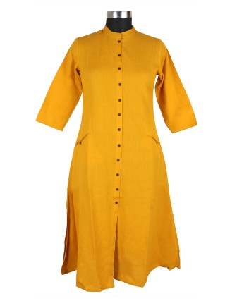 Suti Womens Cotton Flex A Line Fit Kurti, Mustered