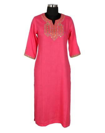 Suti Womens Rayon Slub Straight Fit Kurti, Radiant Pink