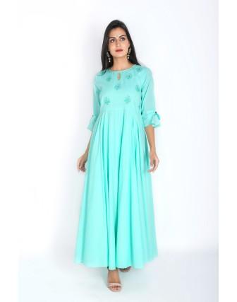 Suti Womens Cotton A Line Fit Dress, Lucite Green
