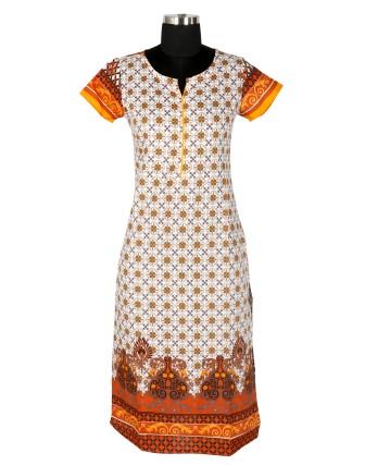 Suti Womens Cotton Straight Fit Kurti, Mustered