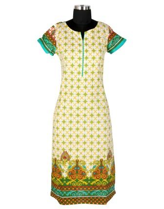 Suti Womens Cotton Straight Fit Kurti, Yellow